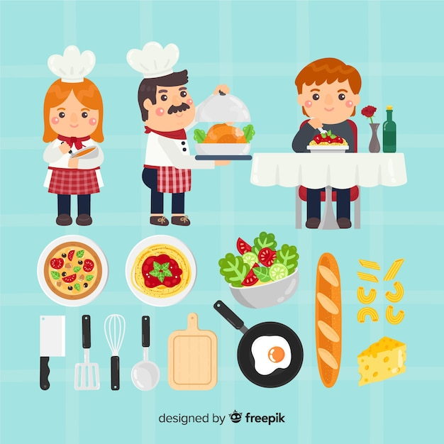 Hand drawn restaurant elements collection Free Vector