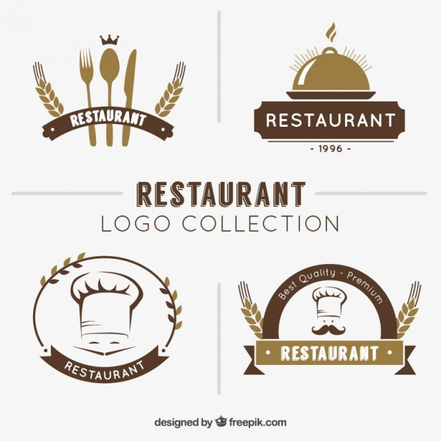 Hand drawn restaurant logo collection Free Vector