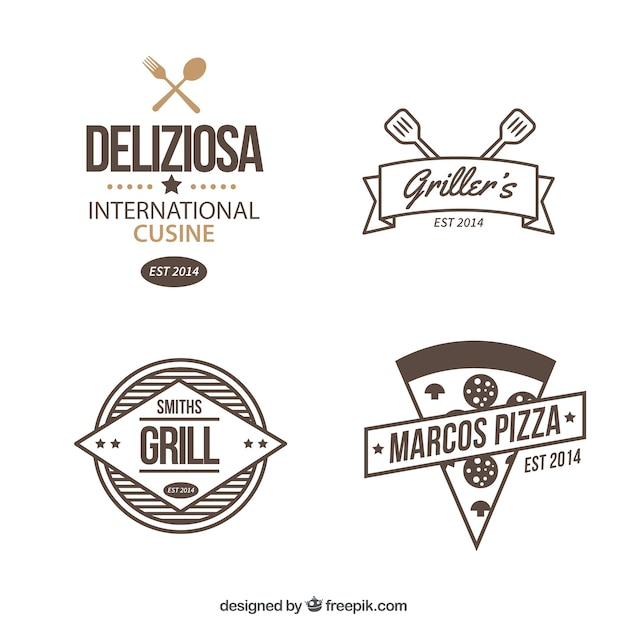 Hand drawn restaurant logos set Free Vector