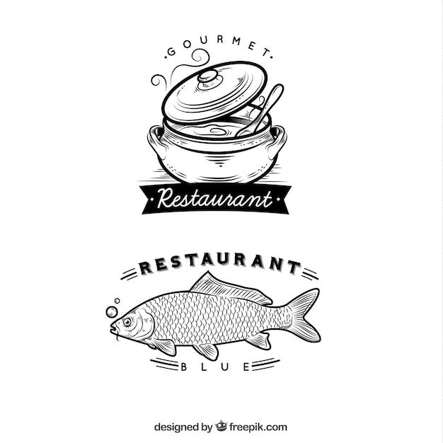 Hand drawn restaurant logos
