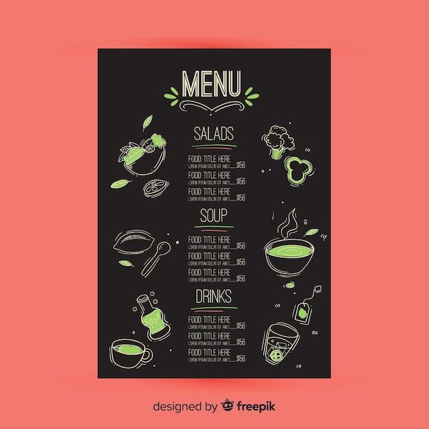 手描きのレストランメニューテンプレート 無料ベクター