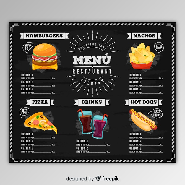 Hand drawn restaurant menu template Free Vector