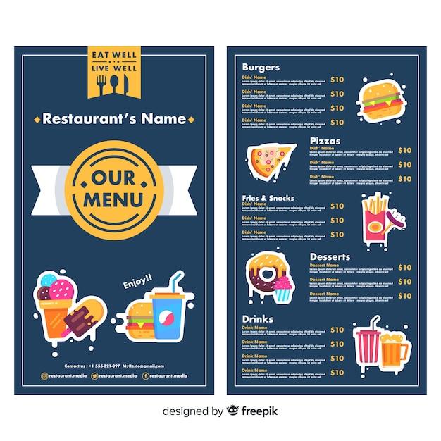 Hand drawn restaurant menu template Free Vector
