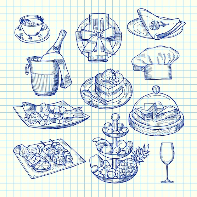 Hand Drawn Restaurant Or Room Service Elements Vector