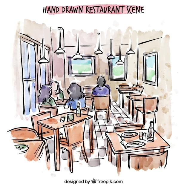 Hand drawn restaurant scene, people inside