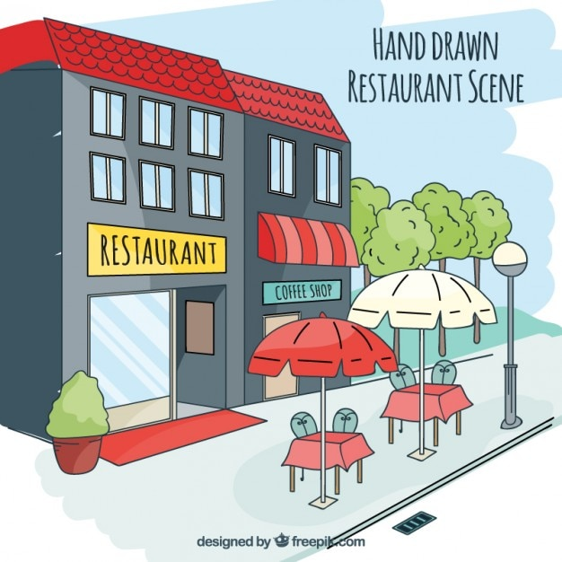 Hand Drawn Restaurant Scene Vector