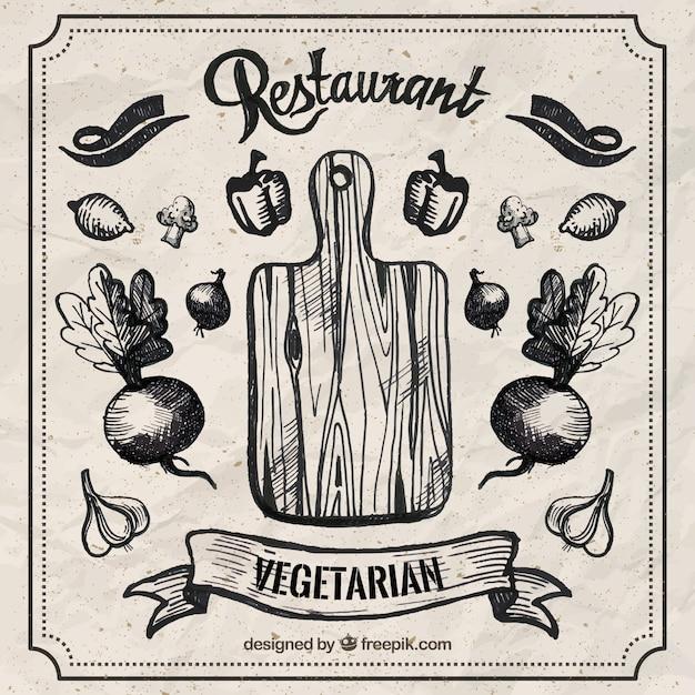 Hand drawn restaurant vegetarian Free Vector