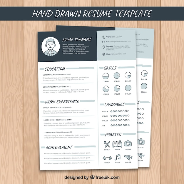 hand drawn resume template vector