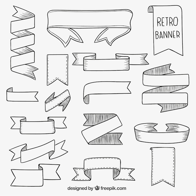 Hand drawn retro banners Free Vector