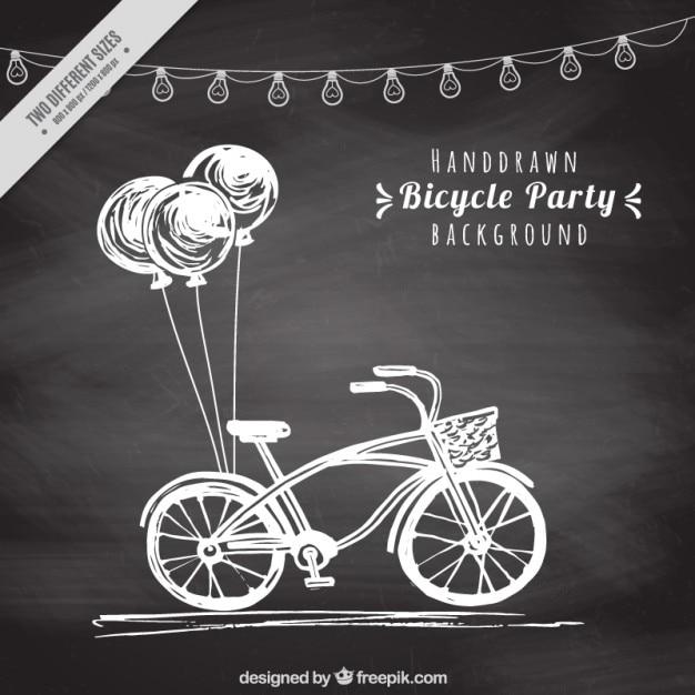دست دوچرخه سبک قدیمی کشیده شده با پس زمینه بالن در اثر تخته سیاه