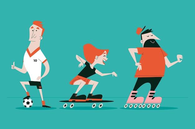 Personaggi dei cartoni animati retrò disegnati a mano Vettore gratuito