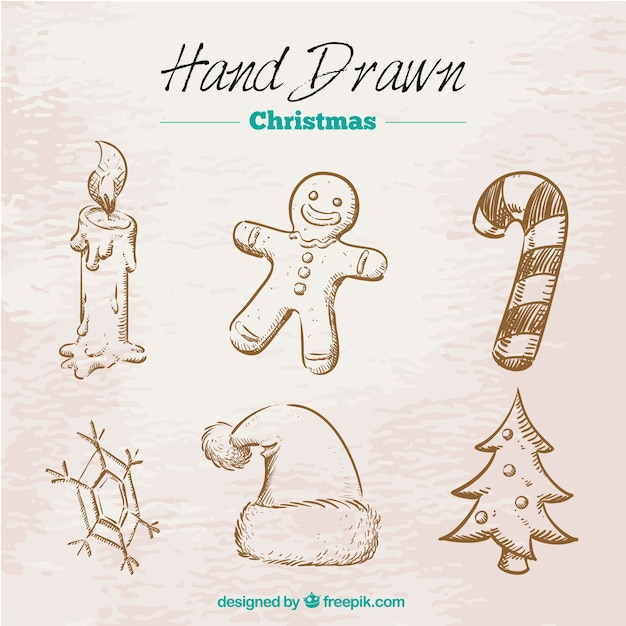Hand drawn retro christmas elements Free Vector