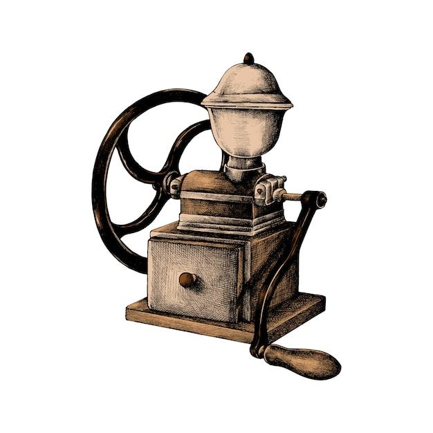 Hand drawn retro coffee grinder Free Vector
