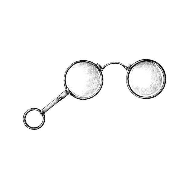 Hand drawn retro eyeglasses Free Vector