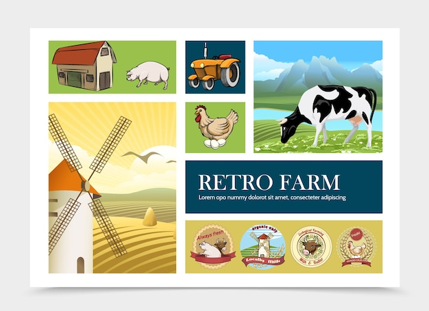Hand drawn retro farm composition Free Vector