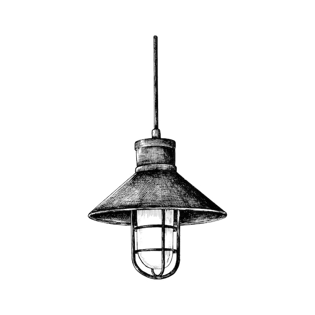 Hand drawn retro light bulb Free Vector