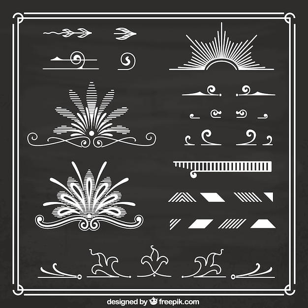 Hand drawn retro ornaments on blackboard
