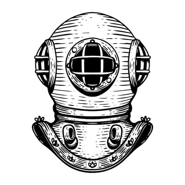 Hand drawn retro style diver helmet illustration on white background.  elements for logo, label, emblem, sign, badge.  image Premium Vector