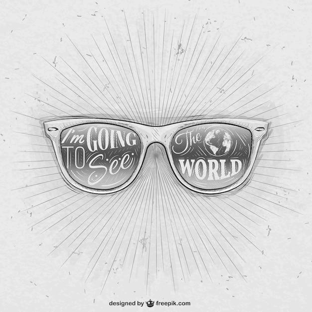Download VectorFree Retro Drawn Hand Sunglasses odxeCB
