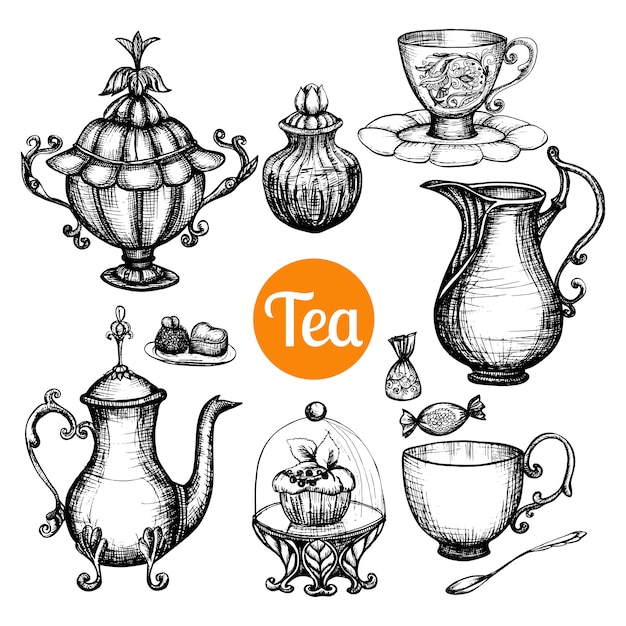 Hand drawn retro tea set Free Vector