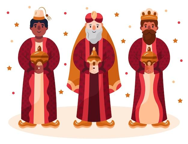Illustrazione disegnata a mano dei personaggi di reyes magos Vettore gratuito