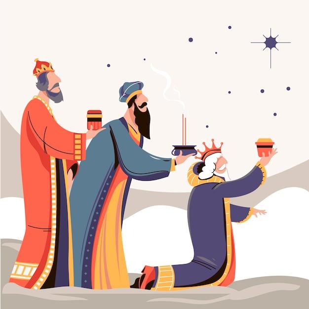 Reyes magos disegnati a mano illustrati Vettore gratuito