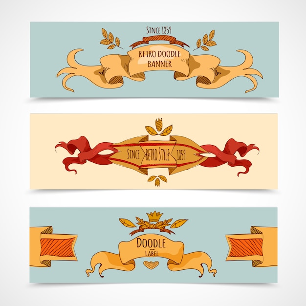 Hand drawn ribbons banners Free Vector