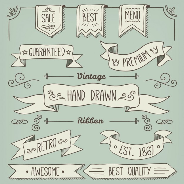 Hand drawn ribbons collection Free Vector