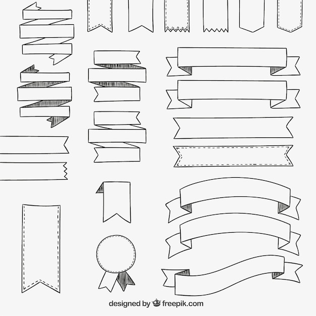Hand drawn ribbons collection Vector | Free Download