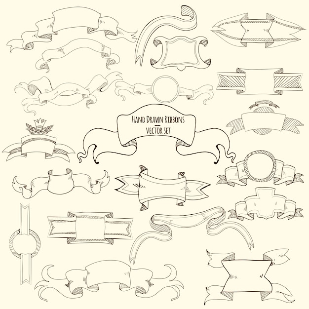 Hand drawn ribbons set Free Vector