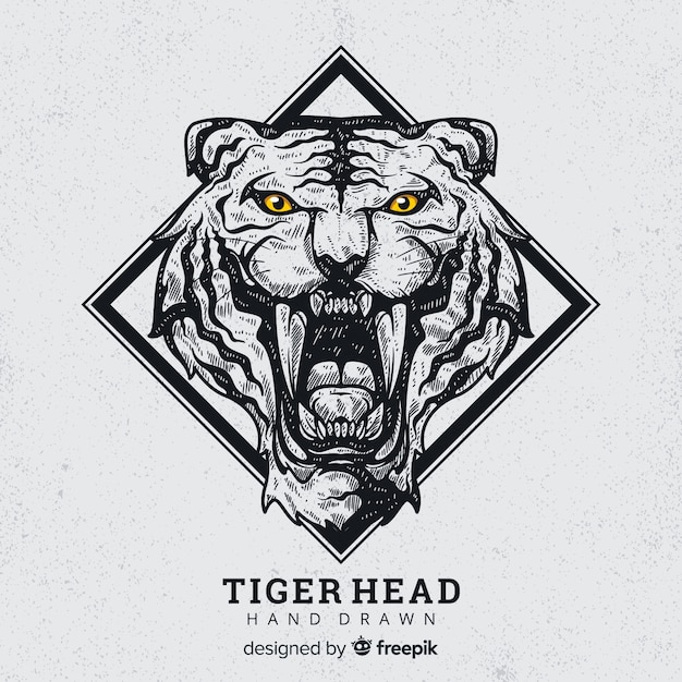 Hand drawn roaring tiger background Free Vector