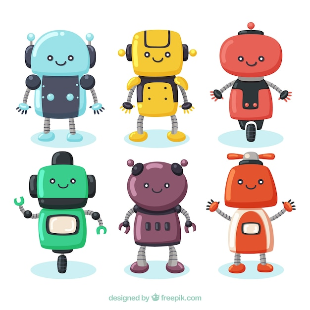 Hand drawn robot character collection Free Vector