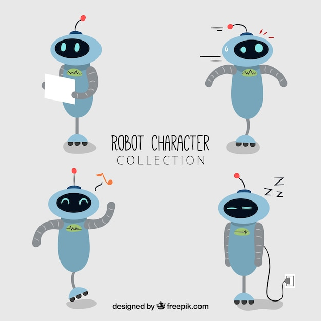 Hand drawn robot character with different poses collection Free Vector