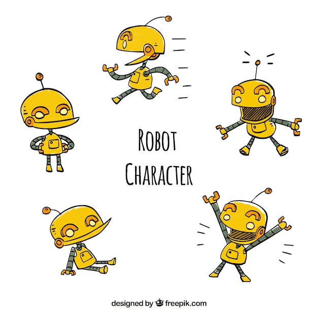 Hand drawn robot collection with different poses Free Vector