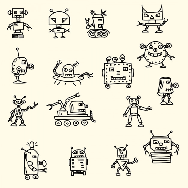 Hand drawn robots Free Vector