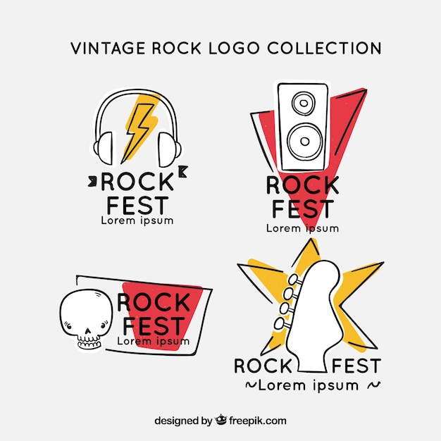 Hand drawn rock logo collection with vintage style Free Vector