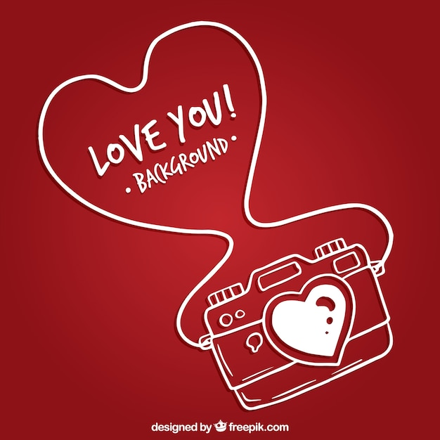 Hand drawn romantic camera Premium Vector