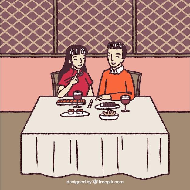 Hand drawn romantic couple in restaurant