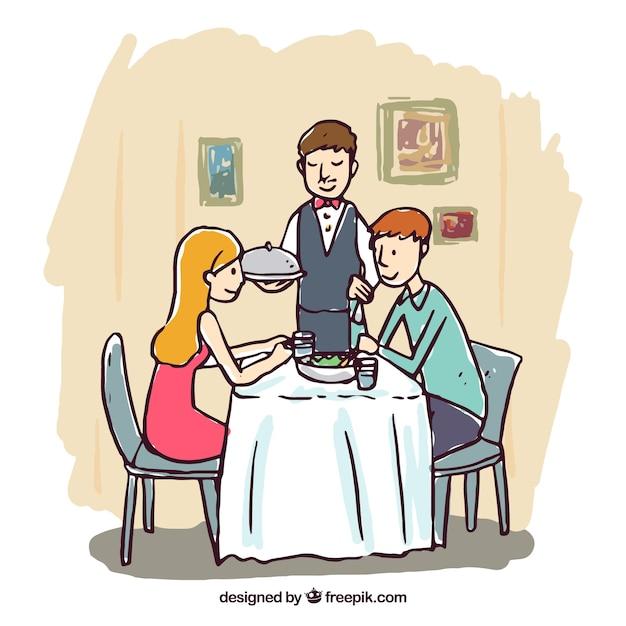 Hand drawn romantic dinner scene