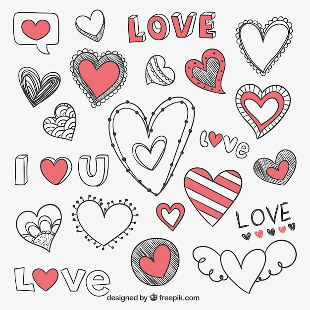 Hand drawn romantic hearts Premium Vector