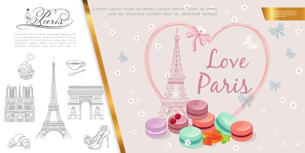 Illustrazione di parigi romantica disegnata a mano Vettore gratuito
