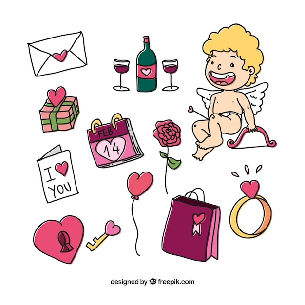 Hand Drawn Romantic Valentines Day Elements Vector Free Download