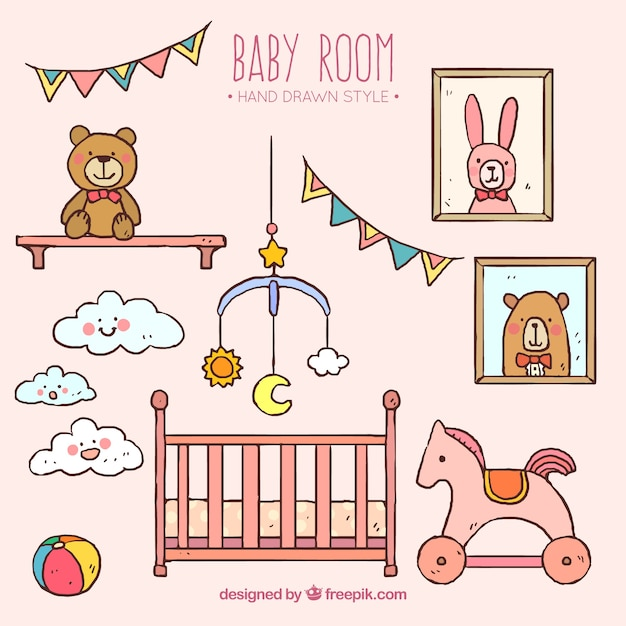 Hand-drawn Room With Toys For Baby Vector