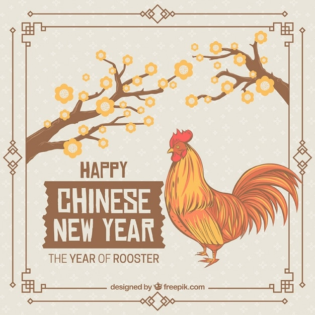 Hand drawn rooster chinese new year vintage\ card