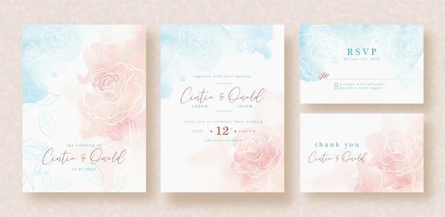 Hand drawn rose flower on splash background wedding card template