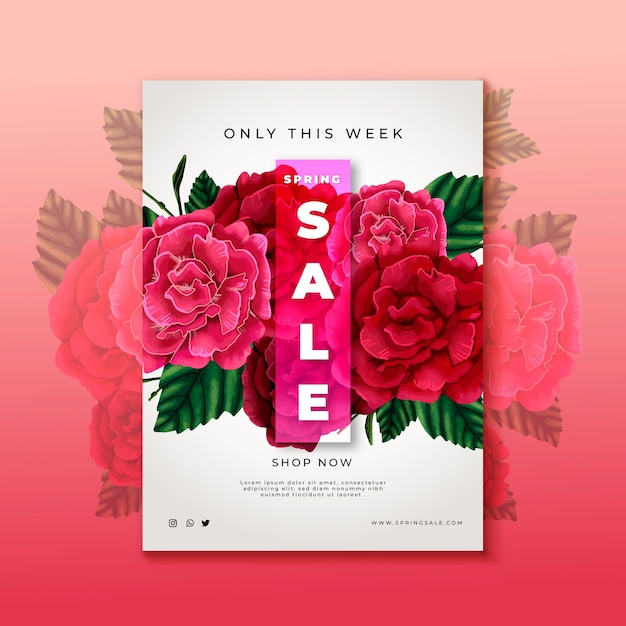 Hand drawn rose flowers sale flyer template Free Vector