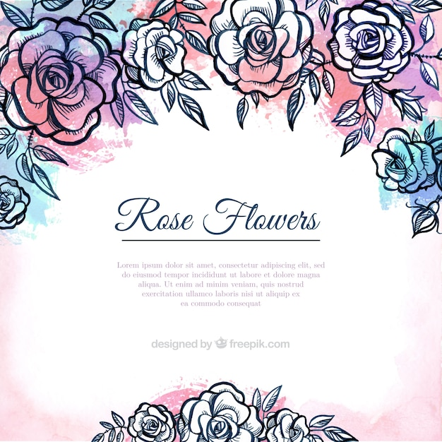 Hand drawn roses background Free Vector