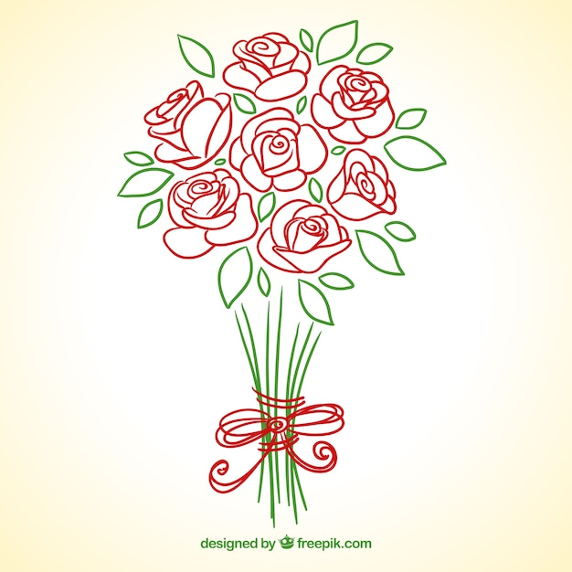 Hand drawn roses bouquet | Free Vector