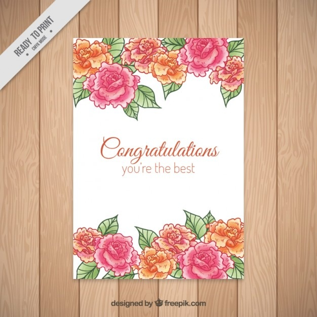 Hand drawn roses congratulations card