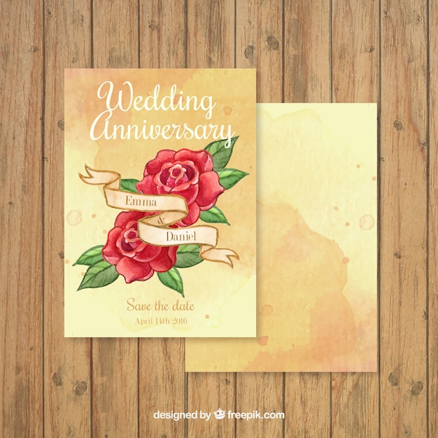 Hand Drawn Roses Wedding Anniversary Card Free Vector  Anniversary Card Free